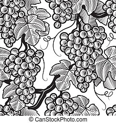 Seamless grape background in woodcut style Black and white...