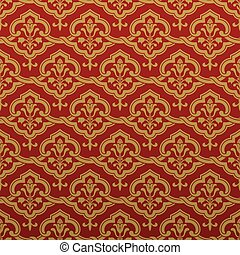Seamless middle ages ornament in red and gold colors. Vector...