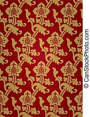 Seamless middle ages ornament in red and gold colors Vector...