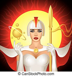 Solar Queen - Fantasy Solar Queen in white armor Vector...