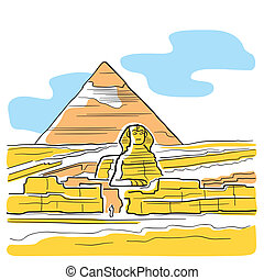 Sphinx and Great Pyramid - Scene with the Sphinx and Great...