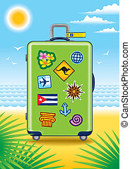 Suitcase for travel on a beach - Green suitcase for travel...
