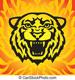 Tiger head mascot in tattoo style on the fiery background...