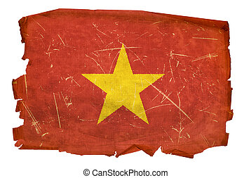 Vietnam Flag old, isolated on white background