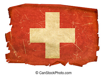 Switzerland Flag old, isolated on white background.