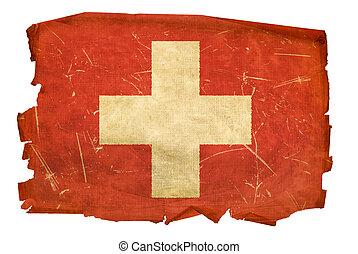 Suíça, bandeira, antigas, isolado, branca,...