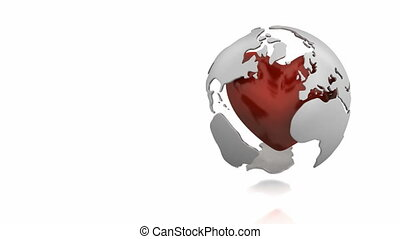 Globe with heart - Rotating globe with pulsing heart inside
