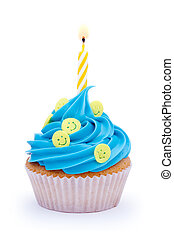 Birthday cupcake - Cupcake decorated with smiley faces and a...