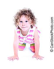 Little girl - adorable little girl isolated on white...