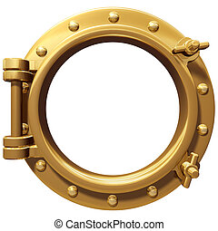 Isolated porthole - Illustration of a bronze ship porthole...