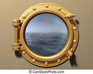 Porthole - Ship porthole looking out to a cold and stormy...