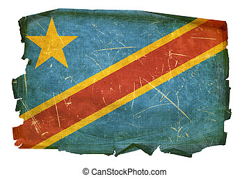 DR Congo Flag old, isolated on white background
