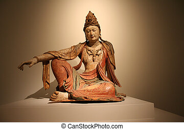 Female Goddess Indian Buddah type ancient wooden statue.