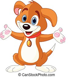 Cute Puppy raising his hands - Illustration of cute puppy...