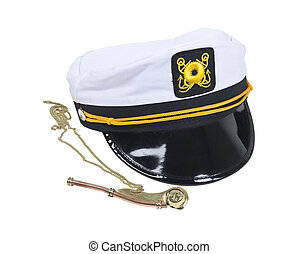 Nautical Hat and Whistle - White Nautical hat with black...