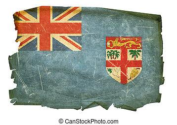 Fiji flag old, isolated on white background