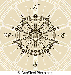 Vintage ship wheel in woodcut style. Vector illustration...