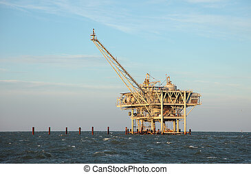 Offshore - An offshore oil rig off the coast of louisiana.