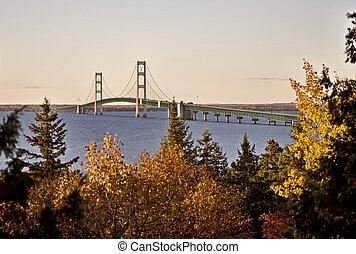Mackinaw City Bridge Michigan Autumn Fall St Ignace