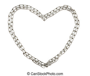 Chrome chain forming heart isolated