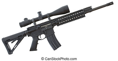 Assault rifle - Black assault rifle with a scope that is...