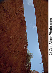 stanley chasm next to alice springs in the australian...