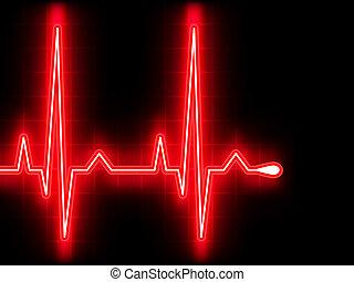 vermelho, Coração, Batida, EKG,...