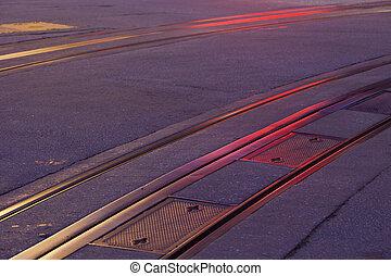 cable car tracks at night - San Francisco historic cable car...