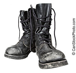 military boots - old leather military boots isolated on...