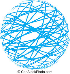 abstract sphere from blue lines