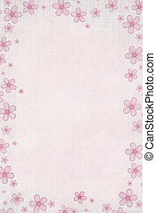 Pink Daisy - Pastel pink daisy border on textured...
