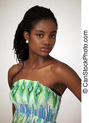 hermoso, africano, niña