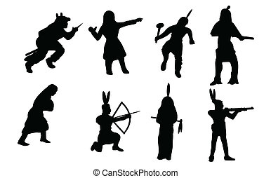 Native American Silhouettes - A vector illustration of some...