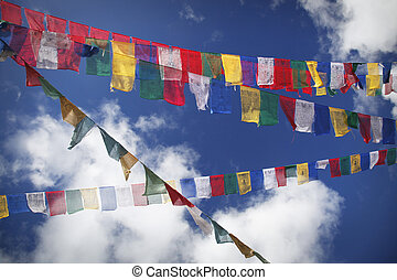 Ascent - Mantra on the prayer flags in the wind, Bhutan