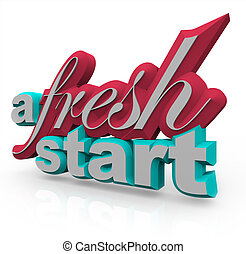 A Fresh Start - 3D Words - The words A Fresh Start in 3D on...