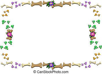 Frame of Bones, Paws, and Flowers