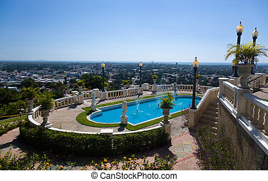 View of city of Ponce - City of Ponce below a smart swimming...