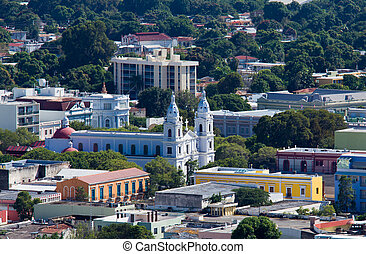 Old church in Ponce - Overlook of the cathedral in Ponce in...