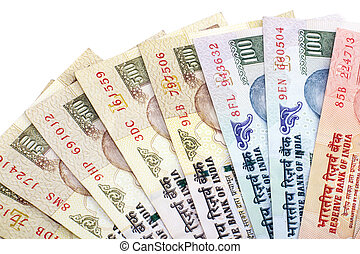 Indian Currency - Indian Rupee bank notes on white...