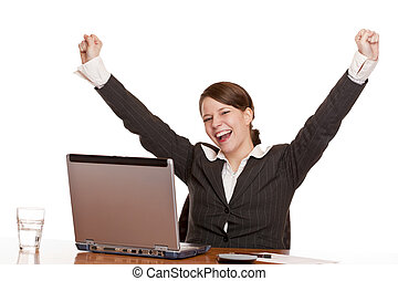 Young woman in office jubilates at desk Isolated on white...