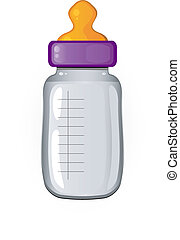 Baby bottle of milk. Over white. EPS 8, AI, JPEG