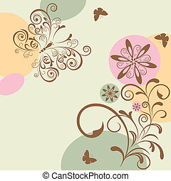 Abstract Floral and Butterfly