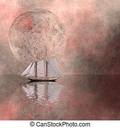 Sailing ship and moon
