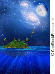 flotter, exotique, île