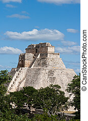 Anicent mayan pyramid Pyramid of the Magician, Adivino in...