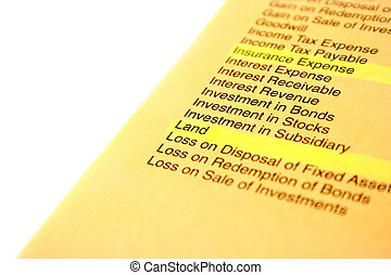 Banking and finance document on white background.