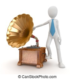 3d man with vintage gramophone
