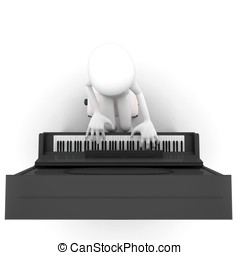 3d man playing piano