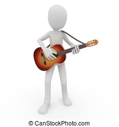3d man with acoustic guitar isolated on white