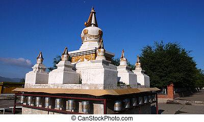 White padoda in Mongolia - Scenery of white buddhist pagoda...